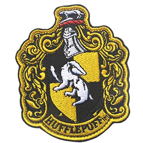(Harry Potter House of Hufflepuff Hogwarts Crest Full Color Fastener Hook & Loop Backing Emblem Embroidered Patches Set Appliques Badge for Coat Jacket Backpack Hat Cap)