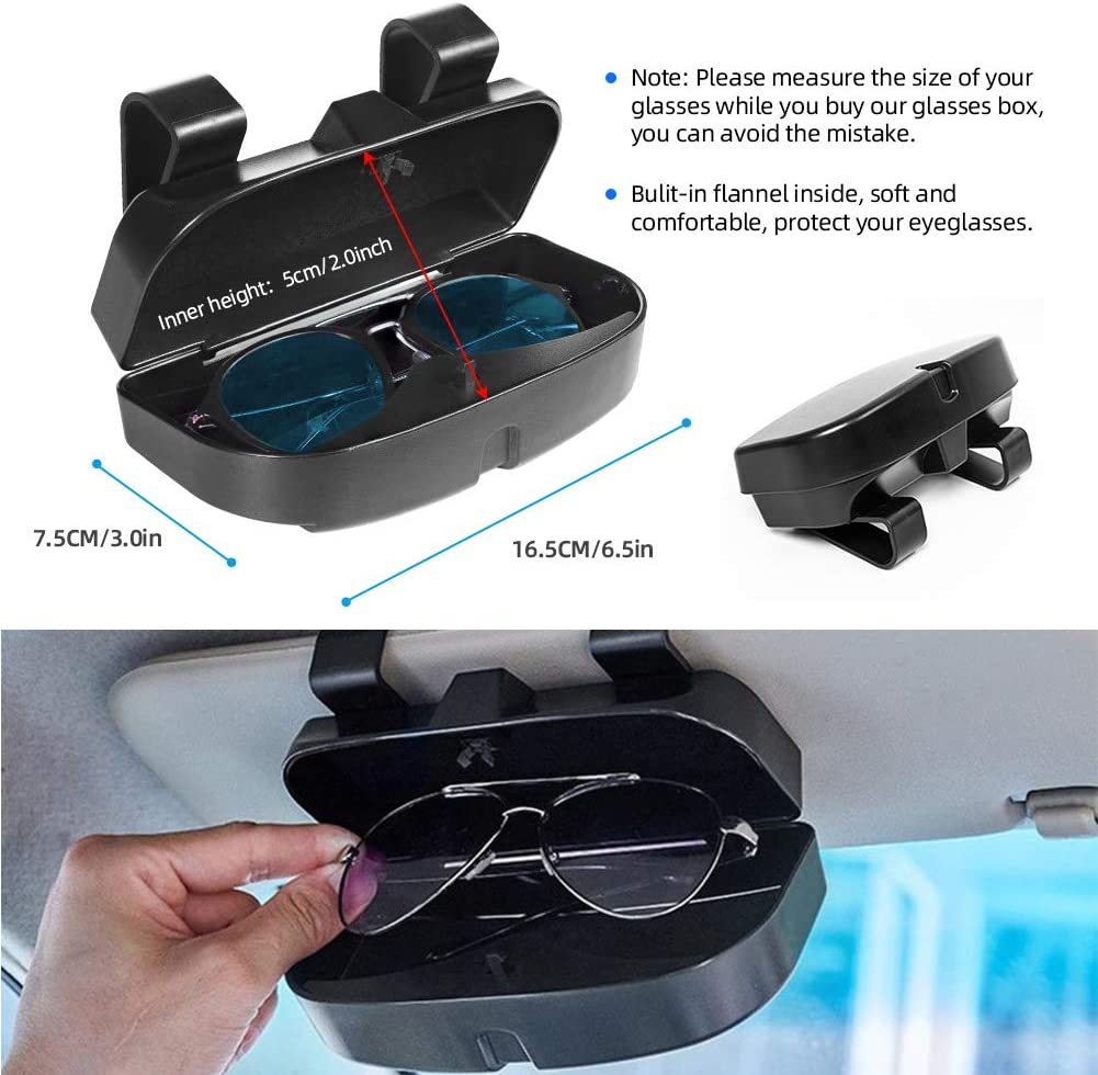 Black Eye Glasses Storage Box with Double Card Slots Car Sunglasses Organizer Mount General for All Car Models CestMall Car Visor Sunglass Case Holder Clip