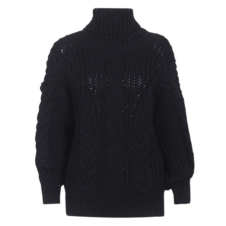 Black Winter Loose Knit Turtleneck Sweater Women Casual Solid Twist