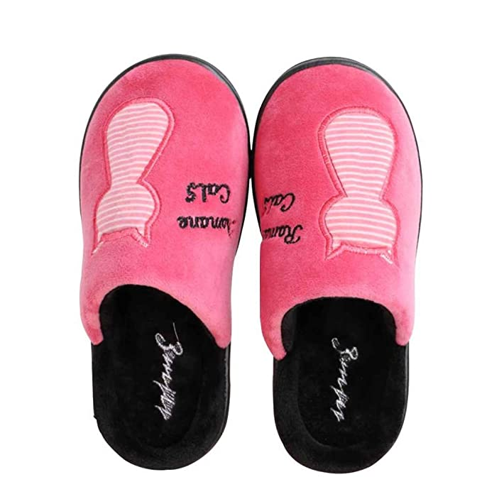 Zapatillas De Algodón Pareja Invierno Hombres Y Mujeres Gato De Dibujos Animados Lindo Resbalón Cálido Cálido Más Terciopelo Zapatillas De Casa: Amazon.es: ...