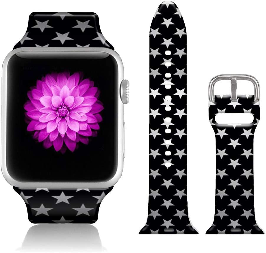FTFCASE Sport Bands Compatible with iWatch 42mm/44mm Five Star Pattern, Flower Printed Soft Silicone Strap Replacement for iWatch 42mm/44mm Series 4/3/2/1 Women Men