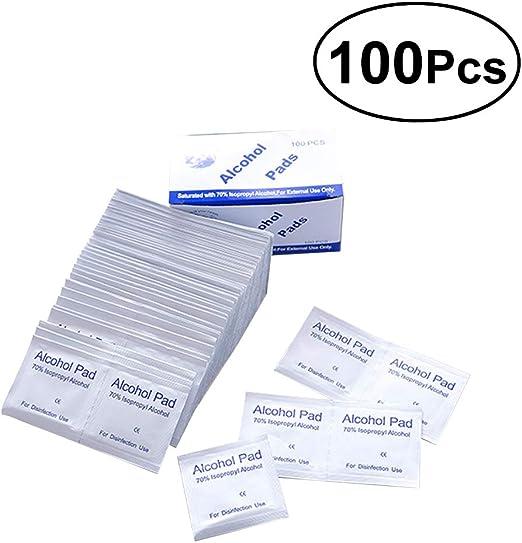 Yardwe 100 unids Desechable Esterilización Médica Desinfección con Alcohol Pieza de Algodón Láminas de Algodón de Esterilización de Limpieza para el Hogar Al Aire Libre Primeros Auxilios: Amazon.es: Hogar