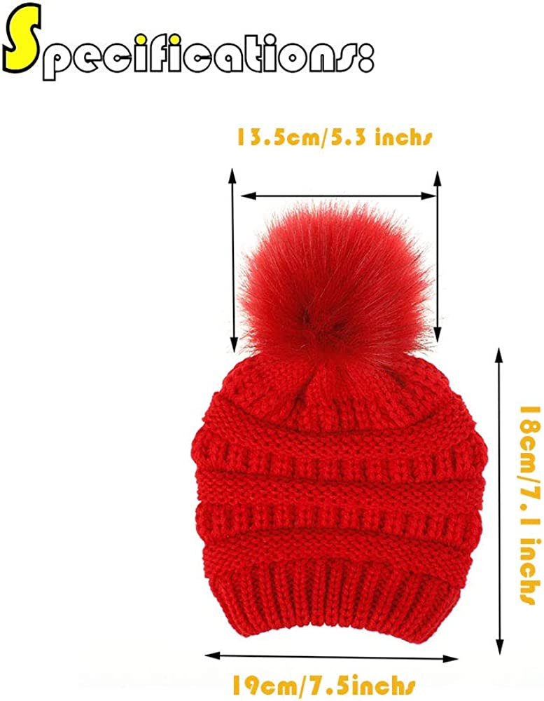 Luyee Kids Cold Weather Hats Toddler Thick Beanie Warm Hat with Faux Fur Pom Poms Age 2~7