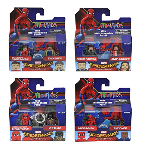 Marvel Minimates Series 73 Spider-Man Homecoming Movie Complete Set of Four 2-Packs (8 Figures)