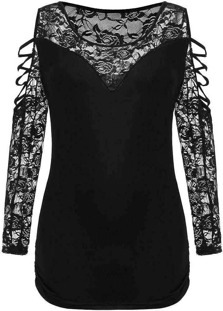 Luckycat Mujeres Elegante Camisetas de Encaje Floral Mangas Largas ...