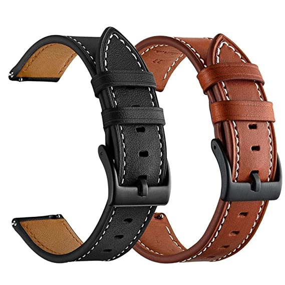 for Amazfit Bip Bands,ViCRiOR Quick Release Genuine Leather Strap Replacement Buckle Strap Wrist Band for Huami Amazfit Bip Brown/Balck (2 Pack)