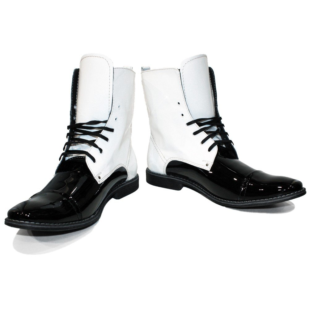 Peppeschuhe Modello Stunterro - Handgemachtes Italienisch Italienisch Italienisch Bunte Herrenschuhe Lederschuhe Herren Weiß Hohe Stiefel - Rindsleder Lackleder - Schnüren B073VN6TTZ 4a9d0a