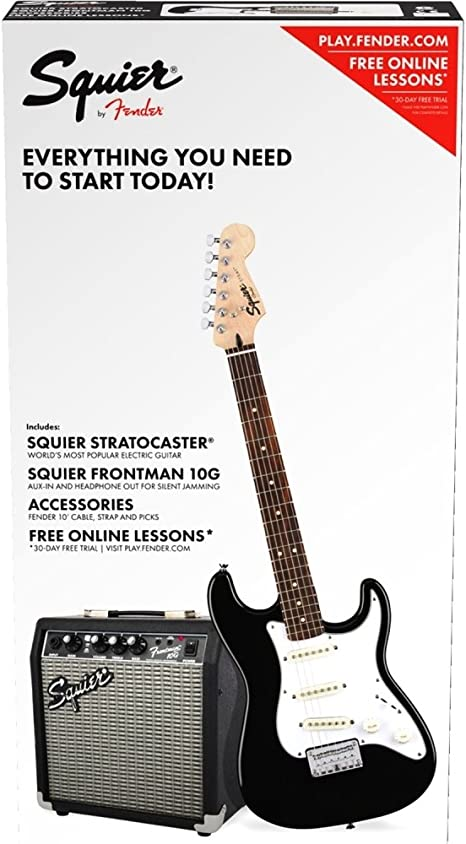 Fender Squier Stratocaster SSS Pack Black + Frontman 10G: Amazon ...
