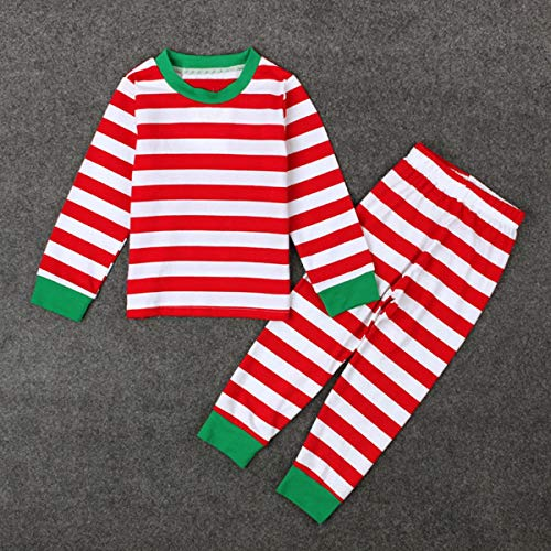 Leyeet 2PCS Toddler Baby Kids Boys Girls Christmas Xmas Halloween Clothes Striped Shirt Tops + Pants Set (Color : Red 2#) ()