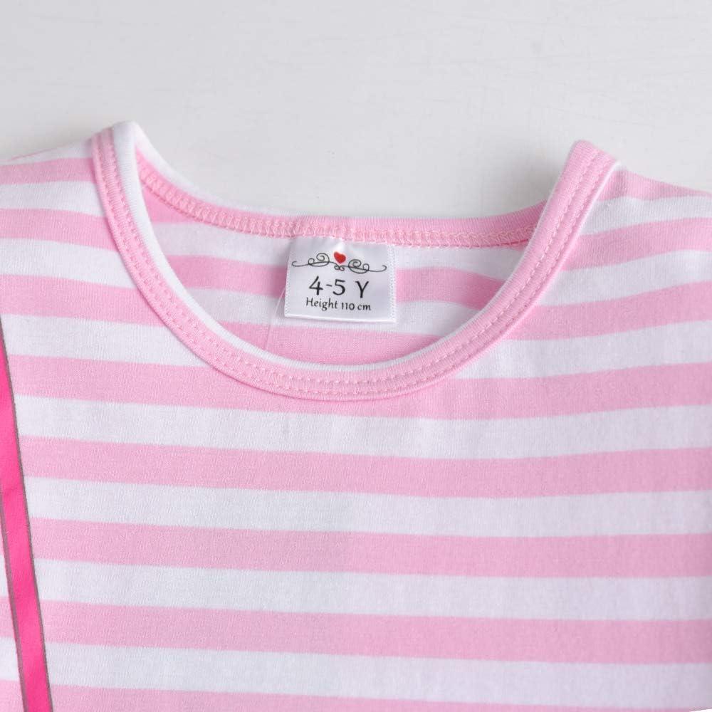 VIKITA Girls Cotton Cartoon Pattern Stripe Short Sleeve Shirt Dress 1-6Years