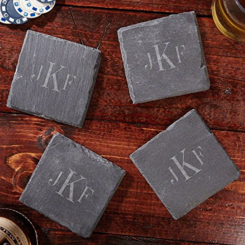 Coaster Personalized Lounge - Classic Monogrammed Slate Drink Coasters (Personalized Product)