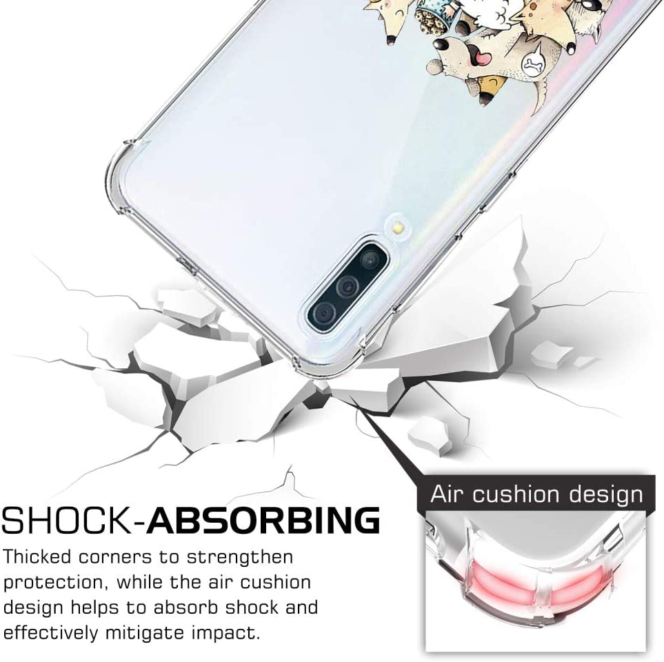 Ultra Thin Shockproof Silicone TPU Gel Drop Protection Air Cushion Bumper Chic Cute Pattern Design Back Cover for Samsung Galaxy S9,Dogs Oihxse Compatible with Samsung Galaxy S9 Clear Case