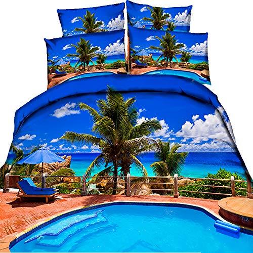 HyUkoa Ocean Duvet Cover Set Full Size, Paradise Beach in Tropical Caribbean Sea with Fantastic Sky View Beach House Themed, 4 Pieces/No Comforter/Style 7
