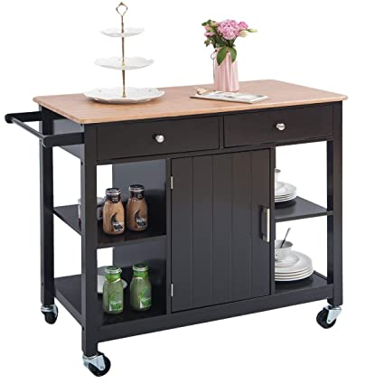 Portable Kitchen Island plus kitchen utility cart with ...