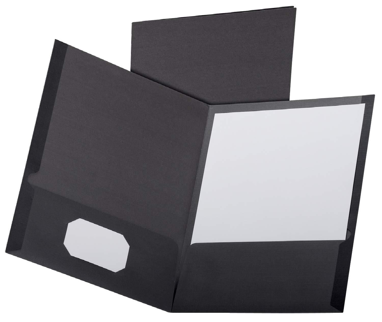Oxford Linen Finish Two-Pocket Folders, Black, Letter Size, 25 per Box, (53406EE) by Esselte