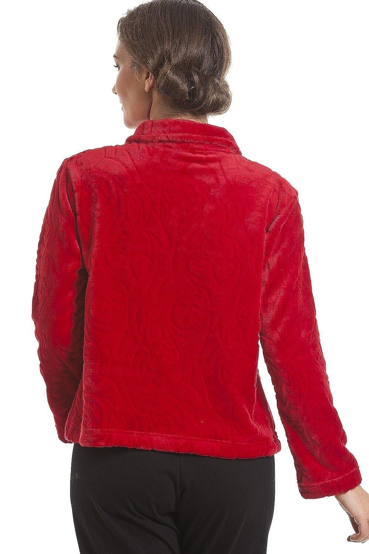 095537fe0873d Camille Gilet dintérieur en Polaire Boutons sur Le Devant Femme - Rouge