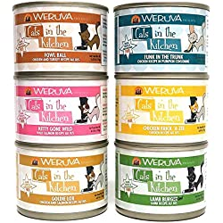 Weruva Cats in the Kitchen Canned Cat Food Variety Pkk - 6 Oz. Each - 6 Flavors - Goldie Lox, Kitty Gone Wild, Funk in the Trunk, Fowl Ball, Chicken Frik 'A Zee,Lamb Burger-ini (12 Pack)Can Cover