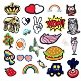 Dandan DIY 24pcs Random Assorted Kid Sew On Iron On Patch Applique Clothes Dress Plant Hat Jeans Sewing Flowers Applique Acces