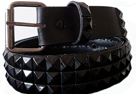 BeltsandStuds Goth Punk Black Stud Studded Snap on Belt