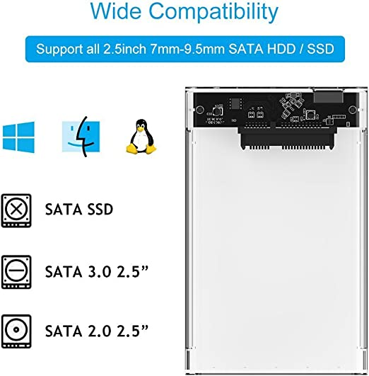 Amazon.com: Semoic 2.5 External Hard Drive Disk Case SSD/HDD ...