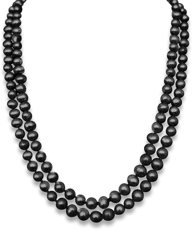 Vifaleno De Agua Dulce Naturales Collar de Perlas Largo, Natural, Negro, Patata, 9-10mm