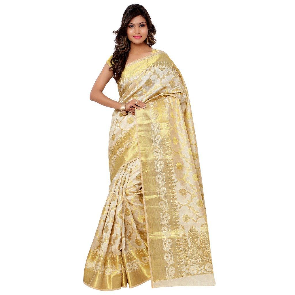 Varkala Silk Sarees Women's Tussar Silk Kanchipuram Saree With Blouse Piece_(PT1001CM_Cream)