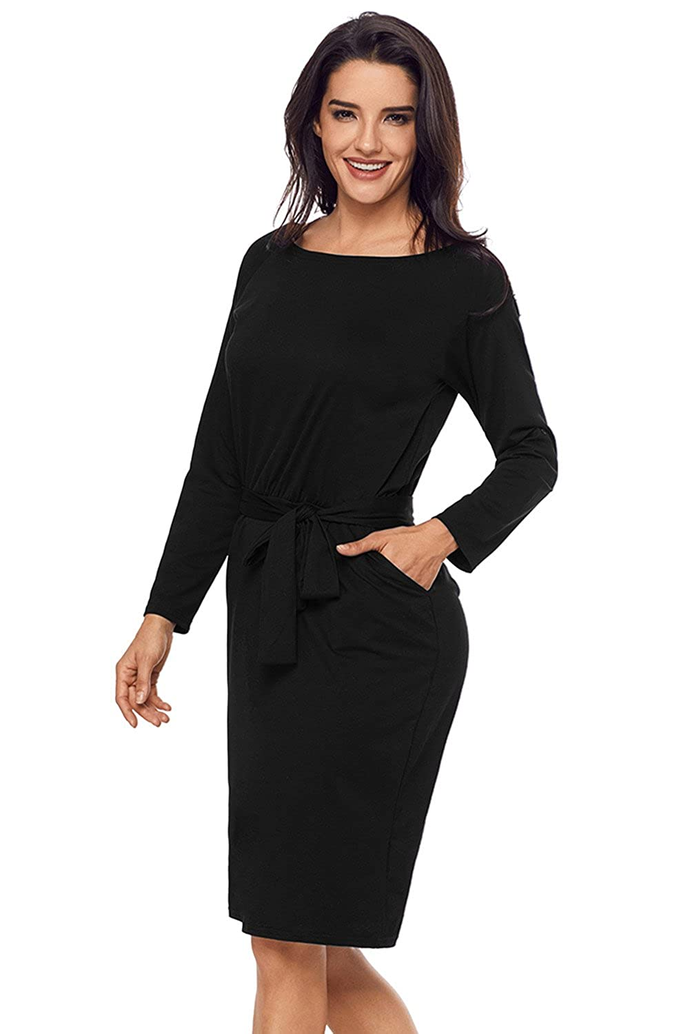 Arctic Cubic Long Sleeve Roll Up Sleeve Tie Waist Belt Pocket Side Midi Bodycon Dress at Amazon Womens Clothing store: