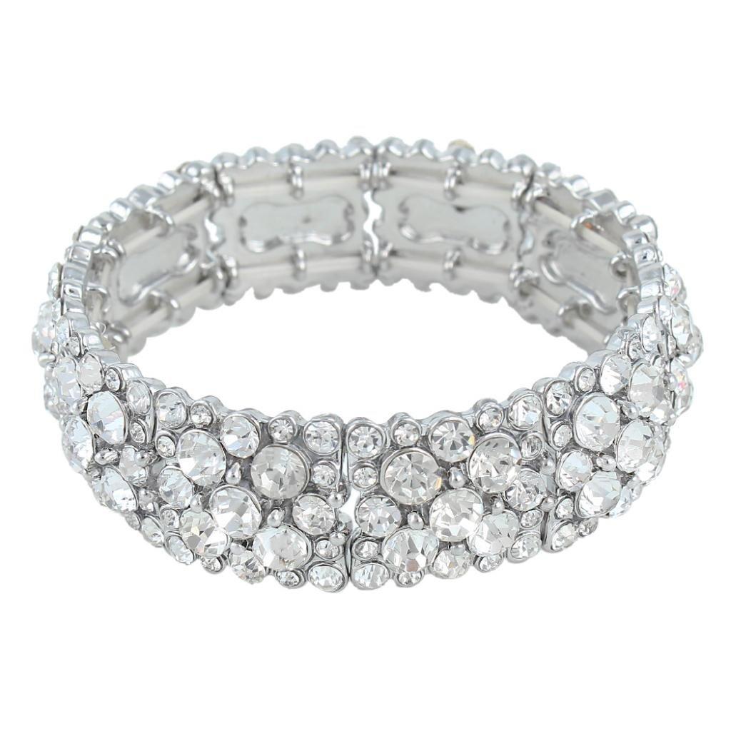 EVER FAITH Women's Round Austrian Crystal Elegant Bridal Stretch Bracelet N04425-5