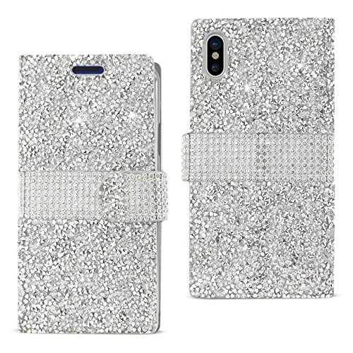 Iphone X Case, Diamond Rhinestone Crystal Bling Glitter Magnetic Closure Flip Wallet Case for Iphone X 2017-Silver (Closure Magnetic Crystal)