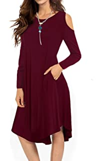 9440adc6422e VERABENDI Women's Cold Shoulder Midi Dress Short Sleeve Swing Dress with  Pockets