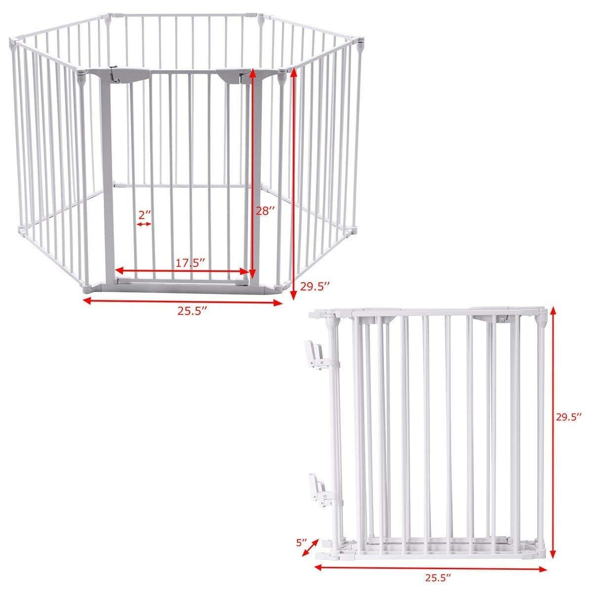 Teekland White Baby Safety Gate/Baby Protect Walls/Fireplace Fence/Dog Gates Indoor/Play Yard with Door,6 Panels Fireplace Extended Metal Fence for Pet/Toddler/Dog/Cat/Christmas Tree by Teekland (Image #6)