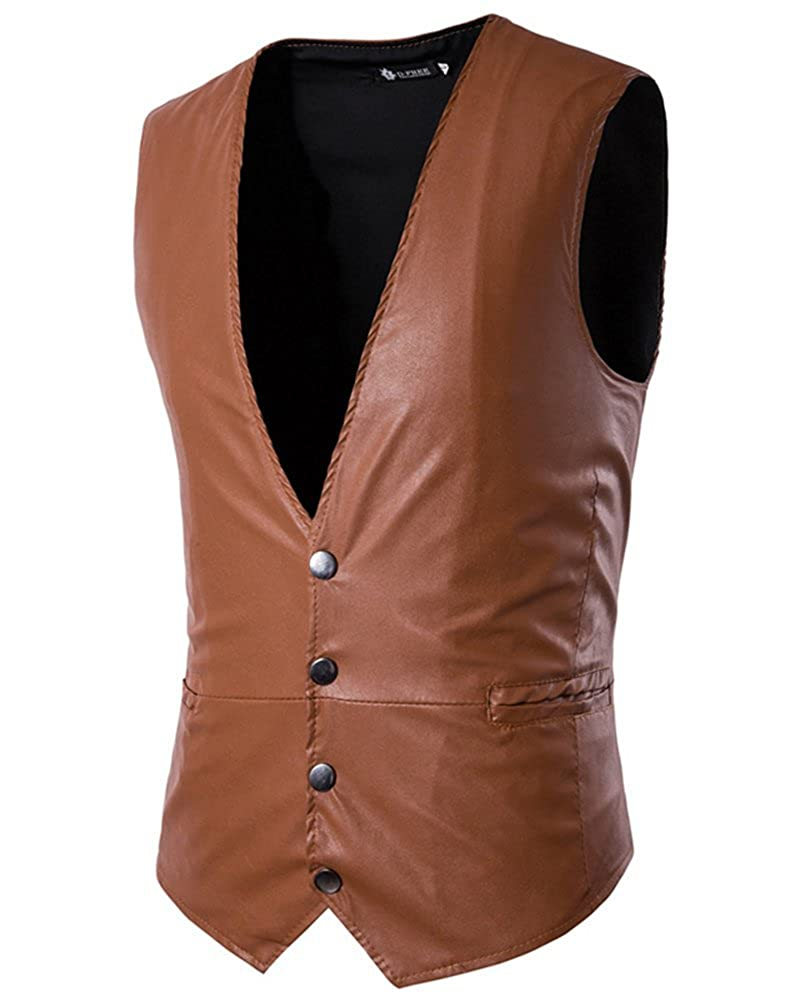 Cihui Mens V-Neck Steampunk Faux Leather Waistcoats Vest Silm Fit