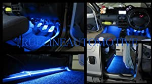 2 Piece Interior Footwell Trunk Light Strips Under Dash Kit (Blue)
