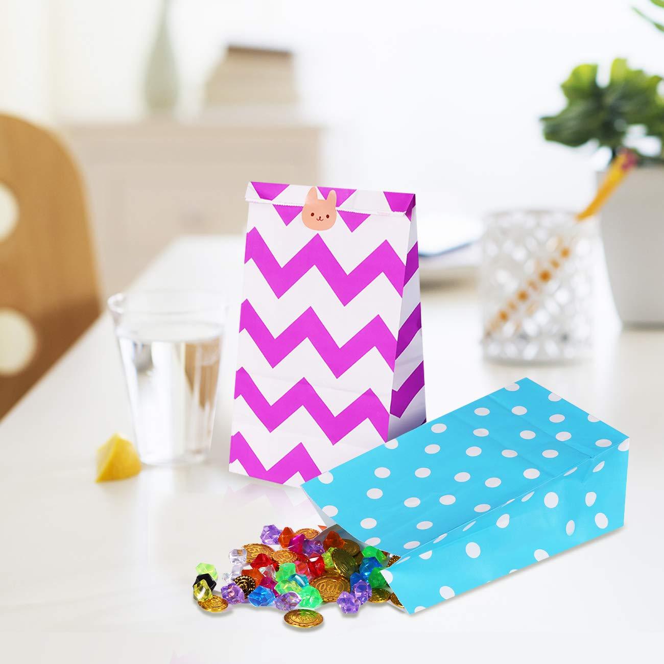 Caramella Sacchetti di Carta JOYUE 40 Pezzi Sacchetti Regalo Sacchetto di Carta Kraft con 72 Adesivo Coniglio per Compleanno Feste Battesimo del Bambino Matrimoni Cerimonie