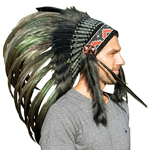 Feather Headdress- Native American Indian Inspired- Handmade Halloween Costume for Men Women with Real Feathers - Super Black (Adult Rooster Costume)