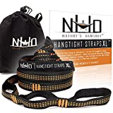 HangTight XL Hammock Straps - 14 Ft Long, Extra Strong & Lightweight, 2200 LBS Breaking Strength, No Stretch Polyester, 24 Adjustable Loops, Tree Friendly. Best Suspension System For Quick Easy Setup