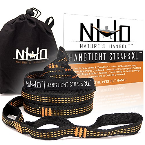 HangTight XL Hammock Straps - 14 Ft Long, Extra Strong & Lightweight, 2200 LBS Breaking Strength, No Stretch Polyester, 24 Adjustable Loops, Tree Friendly. Best Suspension System For Quick Easy - Python Strap