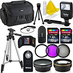 Professional 55MM Accessory Bundle Kit For Nikon D3400 D5600 D3300 AF-P & DSLR Cameras , 15 Accessories for Nikon