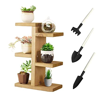Jeerbly Small Plant Stand Wood Plant Stand For Succulent Tabletop Window Flower Garden Rack 5 Tiers Indoor Desk Balcony Decor