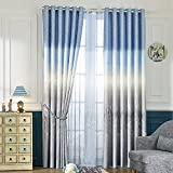 "KoTing Polyester Blue Ocean and Grey Castle Curtains Drapes for Bedroom Living Room,42""W x 96""L(1 Panel Grommet Top)"