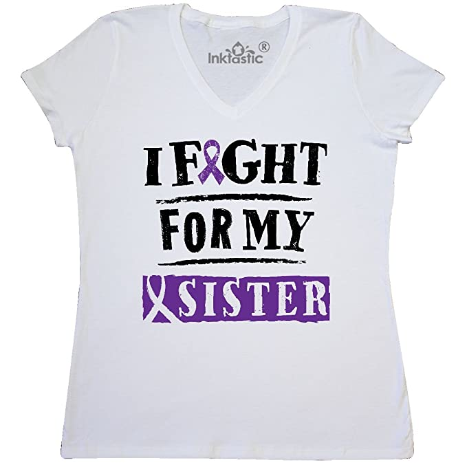 Inktastic I Support My Aunt T-Shirt Cancer Awareness Purple Ribbon Alzheimers