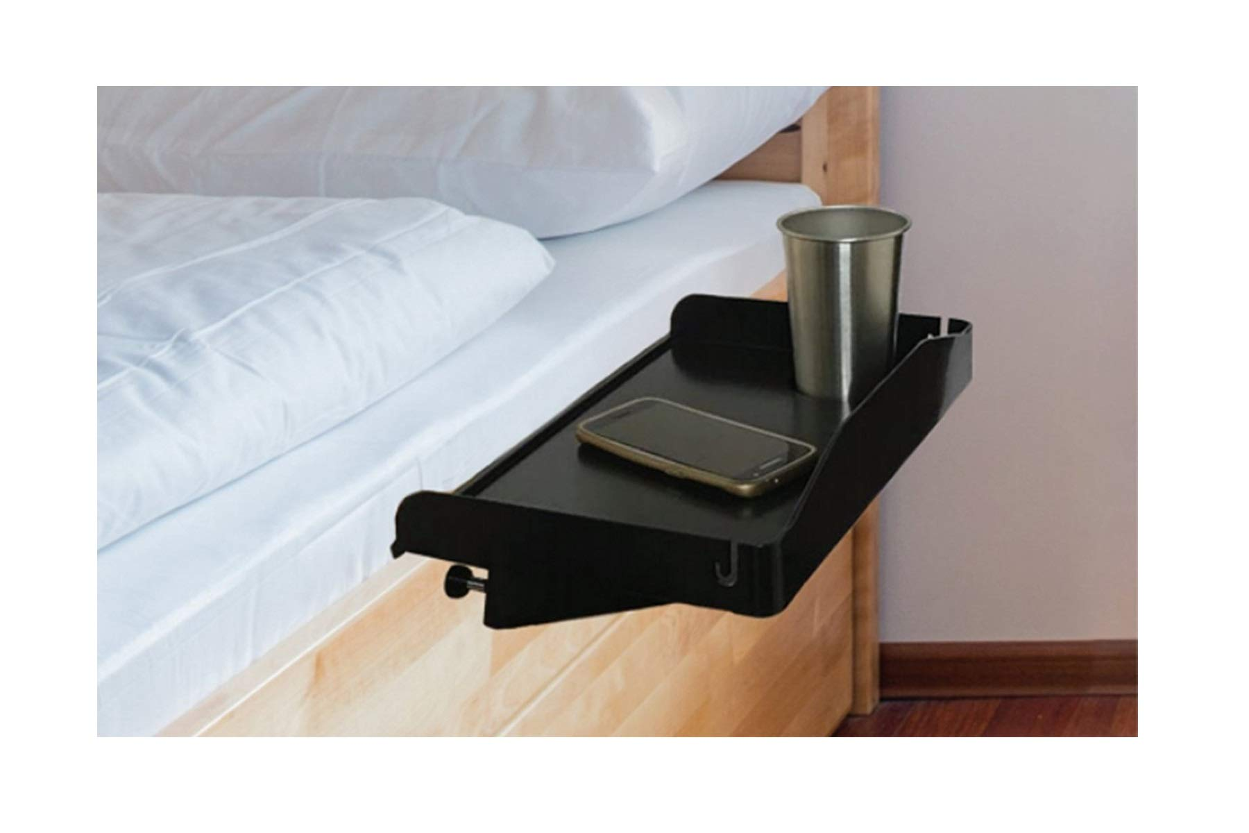 Bedside Shelf to Use As Kids Nightstand, Bunk Bed Nightstand, Dorm Room Nightstand for Students and Bedside Tray for Drink, Laptop, Tablet, Books, Remote, Alarm Clock & Phone - Plastic (Black)