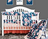Coral Navy Floral Baby Crib Bedding Set Minky Blanket Crib Rail Cover Peach Navy Floral Girl Crib Set Floral Ruffled Crib Skirt (4 pcs set)