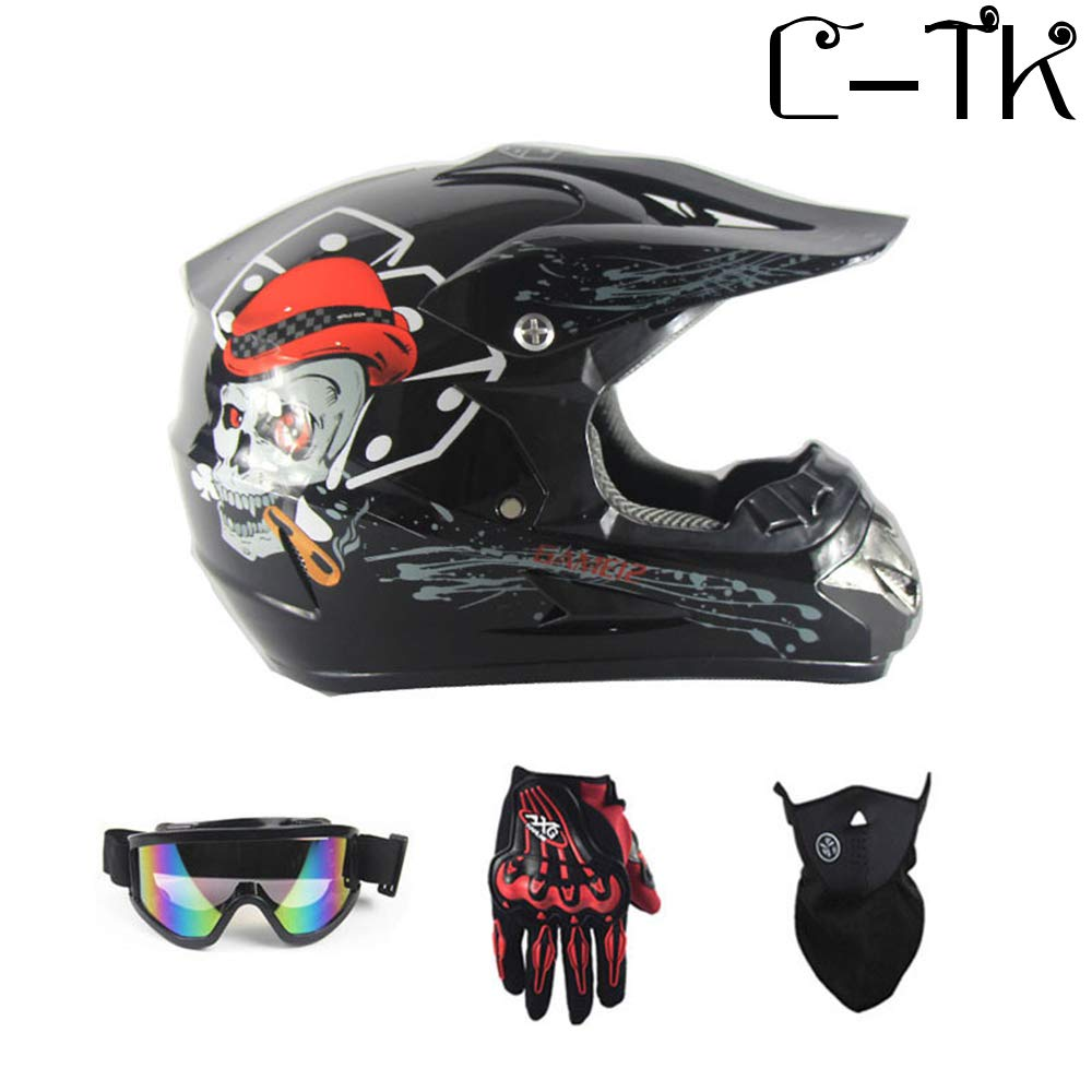 C-TK Motocross Casco D T Certificazione Endurance Race ATV Casco O Elementi di Design di Moda,10,S(52~53) CM