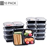 Glotoch 10 Pack of 39 Ounce BPA-Free Disposable Lunch Boxes & Meal Prep Containers with Lids, 3 Compartment Round Food Storage Containers, Microwaveable, Freezer & Dishwasher Safe
