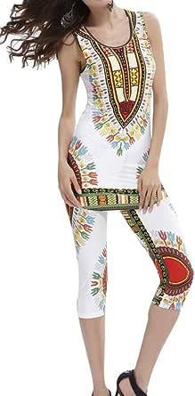 FSSE Womens African Print Dashiki Tank Top & Short Leggings Pants 2 Piece Outfits