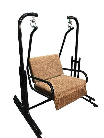 kaushalendra garden zula Iron Cushion Swing Chair with Stand (Brown, 150kg Capacity)