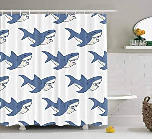 ROOLAYS Shower Curtain, Shark Pattern Sketched Doodle Shark Waterproof Shower Curtain,Summer Shower Curtains,Colorful Shower Curtain 72X78 Inch