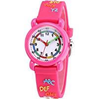 Jewtme Cute Toddler Children Kids Watches Ages 3-8 Analog Time Teacher 3D Silicone Band Cartoon Watch for Little Girls…