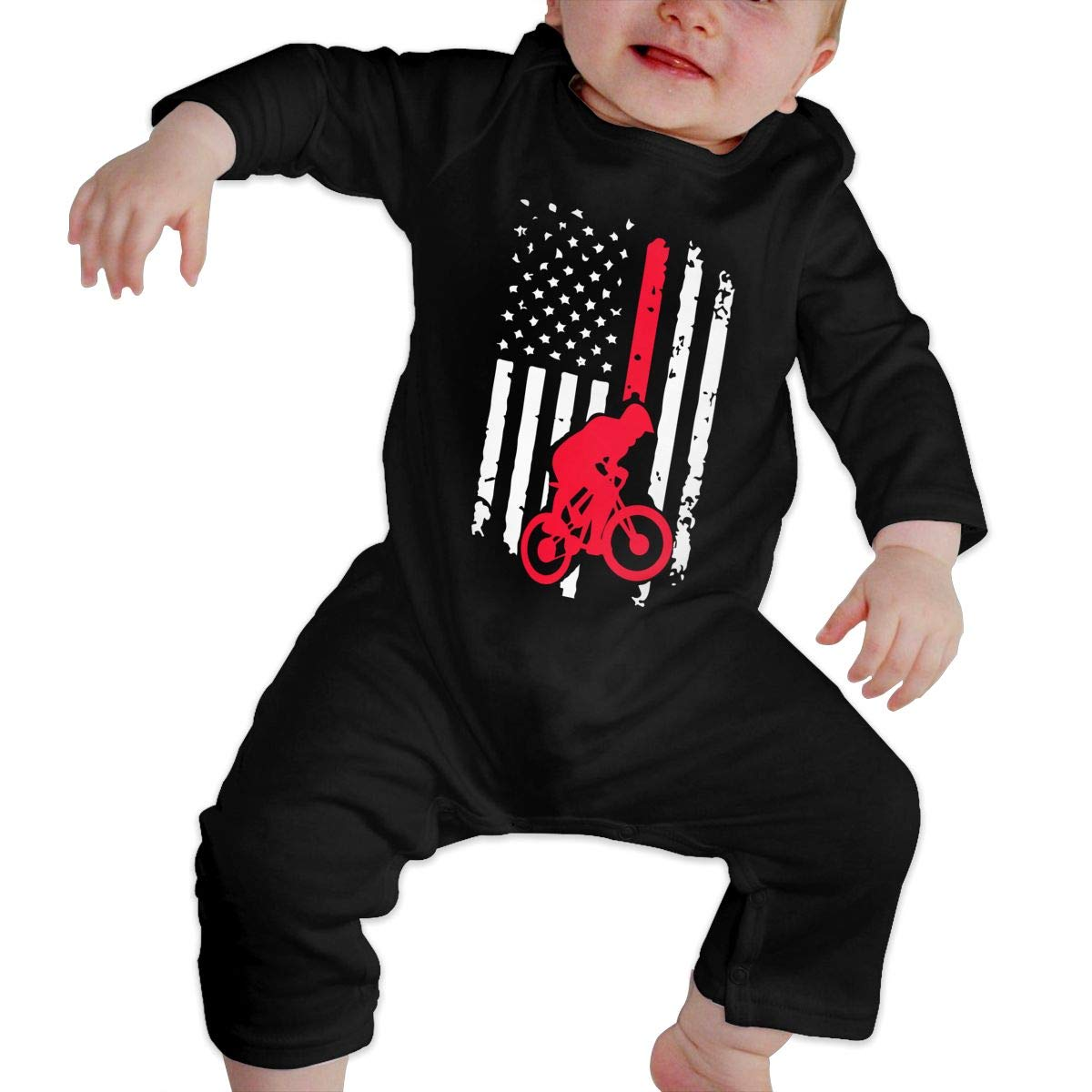 A1BY-5US Infant Babys Cotton Long Sleeve BMX Bike American Flag Climb Romper Funny Printed Romper Clothes